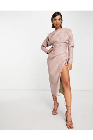 ASOS Mujer De noche - Vestido midi color con escote bardot y detalle de jaretas en el cuerpo de poliuretano de -Rosa