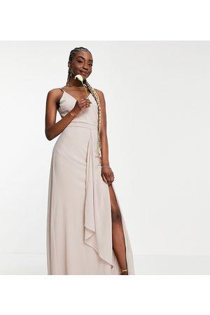 TFNC Mujer Largos - Vestido largo de dama de honor de tirantes con diseño cruzado y corte sirena exclusivo de