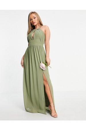 TFNC Mujer Largos - Vestido de dama de honor largo verde negruzco plisado de -Gris