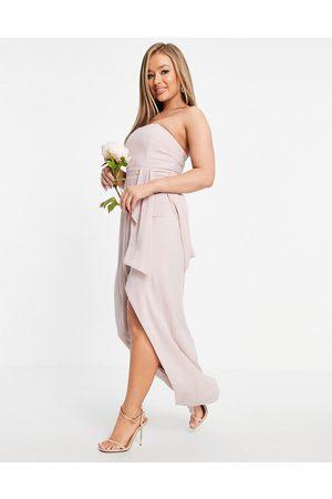 TFNC Mujer Palabra de honor - Vestido de dama de honor semilargo color palabra de honor con diseño cruzado y detalle plisado de -Rosa