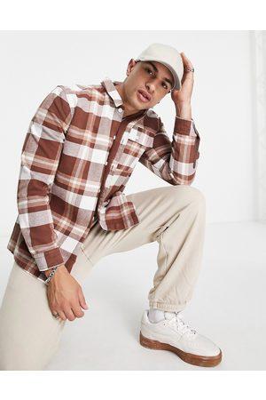 Topman Hombre Camisas - Sobrecamisa marrón a cuadros de