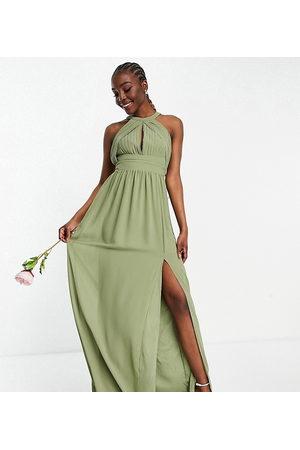 TFNC Mujer De noche - Vestido de dama de honor largo verde negruzco plisado de