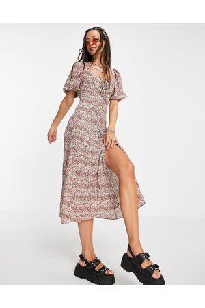 Topshop Vestido midi abotonado estilo casual con florecitas de