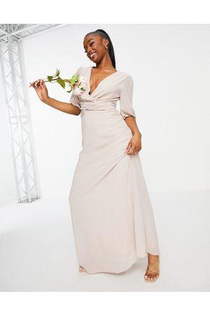 TFNC Mujer Largos - Vestido de dama de honor largo con parte delantera cruzada de