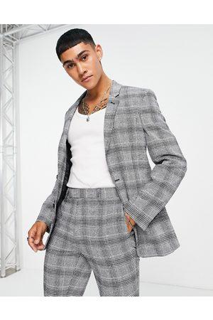 ASOS Chaqueta de traje superajustada de cuadros grises de