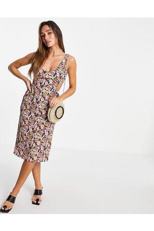 Fashion Union Mujer Casual - Vestido midi con aberturas laterales de -Multicolor