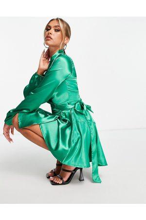 TFNC Mujer De fiesta - Vestido midi cruzado de satén de