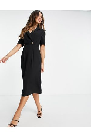 ASOS Mujer Midi - Vestido midi estilo esmoquin cruzado con hombreras de