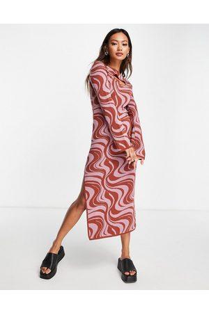 ASOS Mujer Casual - Vestido midi con estampado de remolinos y abertura de punto de