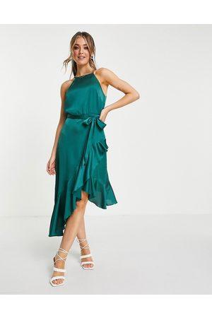 Style Cheat Vestido midi verde esmeralda asimétrico con cinturón y volantes de