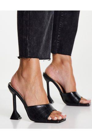 Glamorous Mujer Sandalias - Sandalias negras estilo cocodrilo con tacón llamativo de -Beis neutro