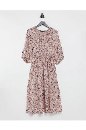 & OTHER STORIES Mujer Casual - Vestido midi rosa floral a capas con espalda abierta de
