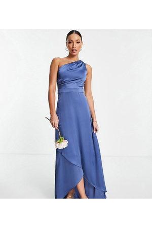 TFNC Vestido de dama de honor largo color carbón asimétrico de -Gris