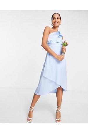 TFNC Vestido de dama de honor midi asimétrico de