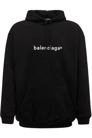 Balenciaga   Hombre Sudadera De De Algodón Con Logo Estampado /blanco Xs