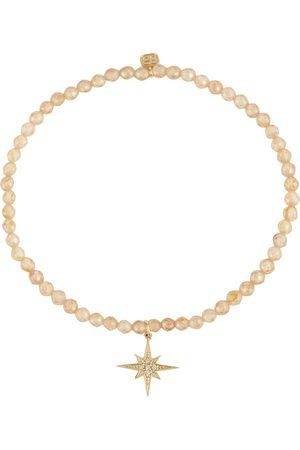 Sydney Evan Mujer Pulseras - Pulsera Starburst con circonitas y charm de oro amarillo de 14 ct