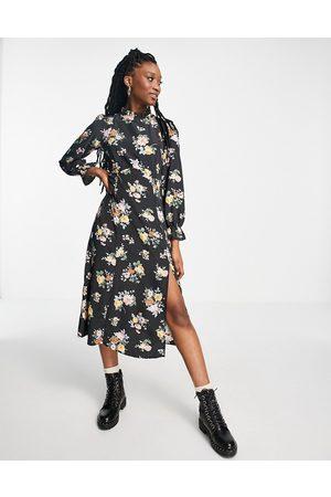 New Look Vestido midi con estampado de flores y volantes en el cuello de