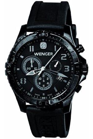 Wenger 77054 - Reloj analógico de caballero de cuarzo con correa de silicona negra