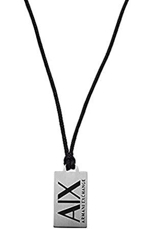 Armani Hombre Collares - Collar tipo placa para hombre, de acero inoxidable en tono plateado