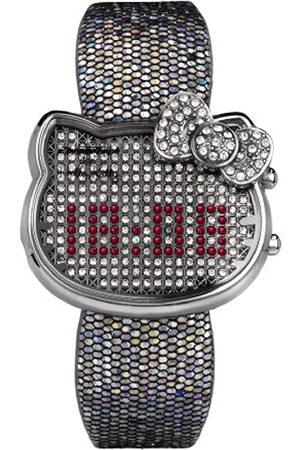 Hello Kitty CHRONOTECH for - Reloj digital de mujer de cuarzo con correa de piel plateada (luz)