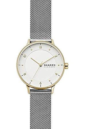 Skagen Reloj analógico Riis de Cuarzo con Correa de Malla de Acero Inoxidable en Tono Plateado para Mujer SKW2912