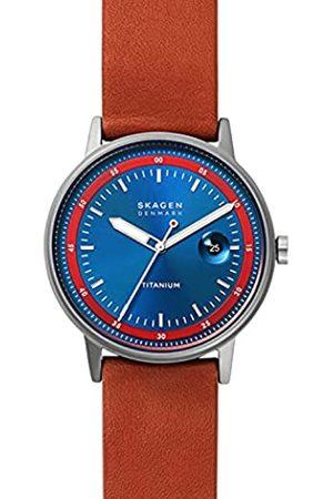 Skagen Reloj Henriksen para hombre, de , de titanio en tono plomo, con tres agujas y fecha