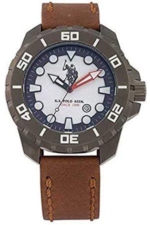 U.S. Polo Assn. US Polo Association Reloj Analógico para Hombre de Cuarzo con Correa en Cuero USP4259GY