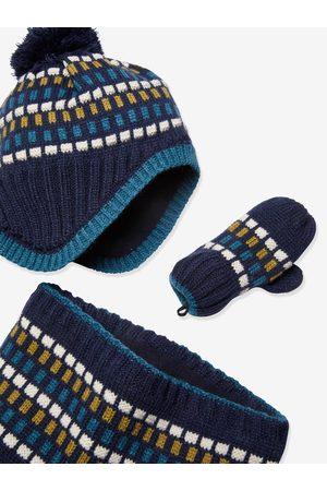 Vertbaudet Niño Gorros - Conjunto de gorro + snood + guantes Oeko Tex® para niño oscuro bicolor/