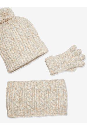 Vertbaudet Niño Guantes - Conjunto de gorro + bufanda + guantes Oeko Tex® para niño medio a rayas