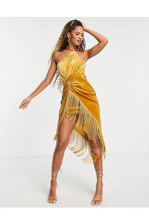 ASOS Mujer Asimétricos - Vestido midi color mostaza asimétrico estilo pareo con flecos de terciopelo de -Naranja