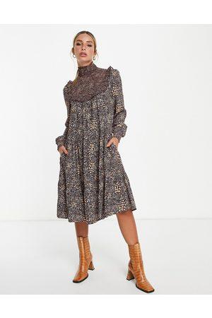 French Connection Mujer Casual - Vestido midi estampado de