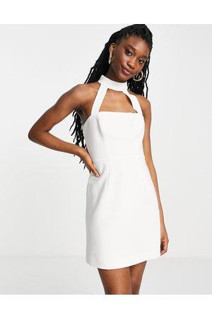 French Connection Mujer De fiesta - Vestido corto blanco con cuello subido de