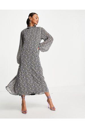 Envii Mujer De noche - Vestido midi fruncido con estampado floral de -Negro