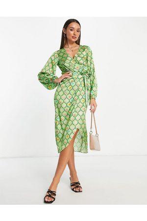 ASOS Mujer Largos - Vestido largo verde cruzado con estampado geométrico de satén de -Multicolor
