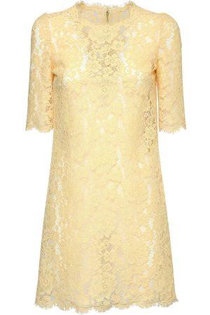 Dolce & Gabbana | Mujer Vestido Mini De Viscosa Y Algodón Efecto Encaje 36