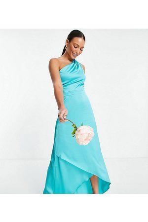TFNC Vestido de dama de honor largo verde azulado con diseño asimétrico de