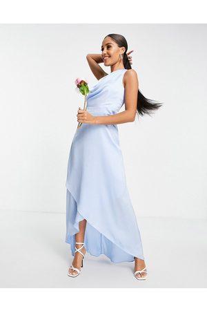 TFNC Vestido de dama de honor largo asimétrico de