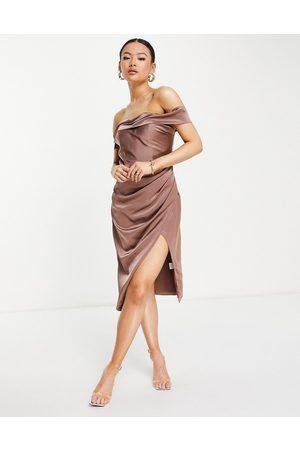 Jarlo Mujer De noche - Vestido midi color con escote Bardot y abertura en el lateral Royalty de -Rosa