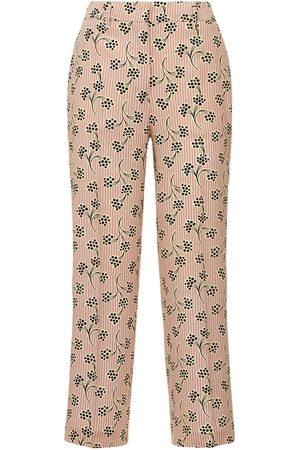 Prada | Mujer Pantalones De Crepé De Seda De China Estampados /ivory 38